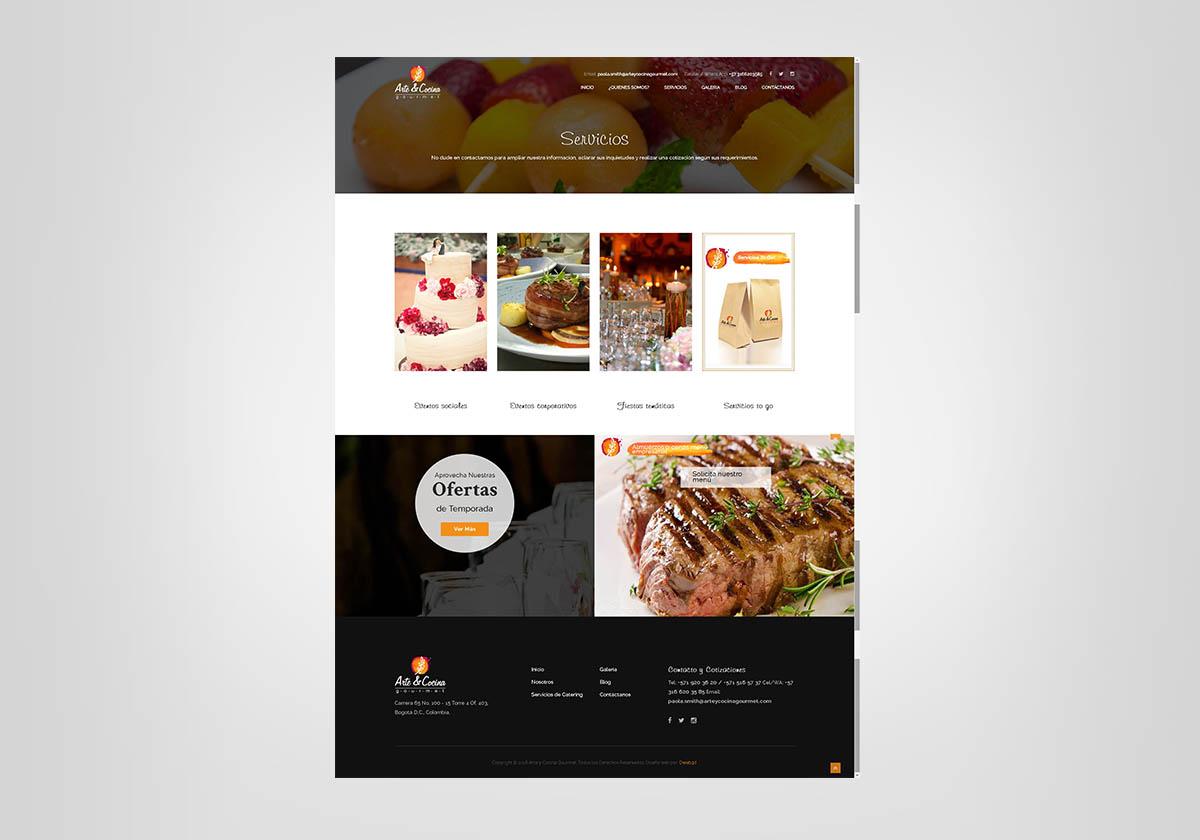 Página Web Diseñada para la Empresa de Catering Arte y Cocina Gourmet